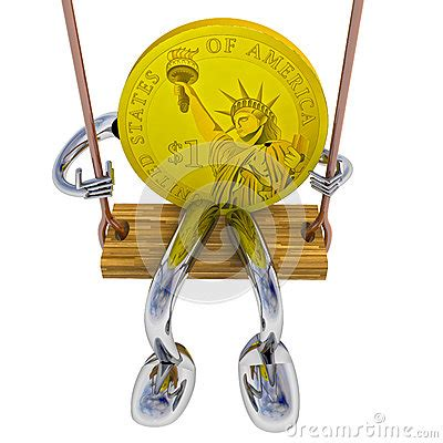 swing for dollars dollar coin robot swinging on a swing front view