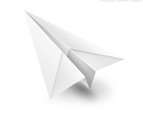 Paper Flight - white paper airplane psd icon psdgraphics