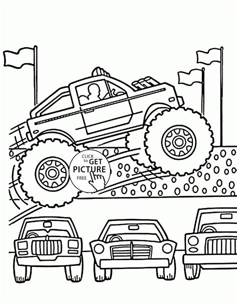 monster truck video for kids mudding trucks free coloring pages