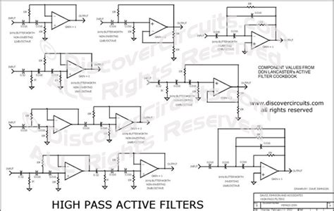 hobby circuit high pass active filter collection circuit s designed by david a johnson p e