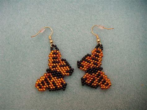 butterfly beaded earrings beaded monarch butterfly earrings
