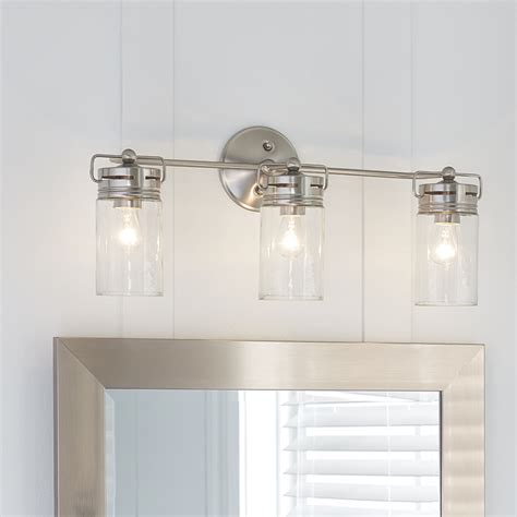 bathroom vanity light fixture allen roth 3 light vallymede brushed nickel bathroom