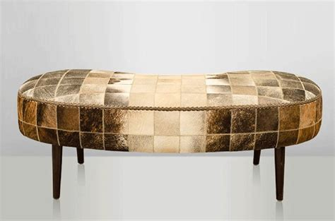 Cow Skin Bench Gorgeous Patchwork Lounge Bench Cow Skin Woven By