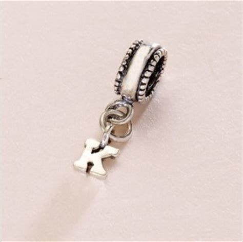letter initial charm sterling silver fits pandora