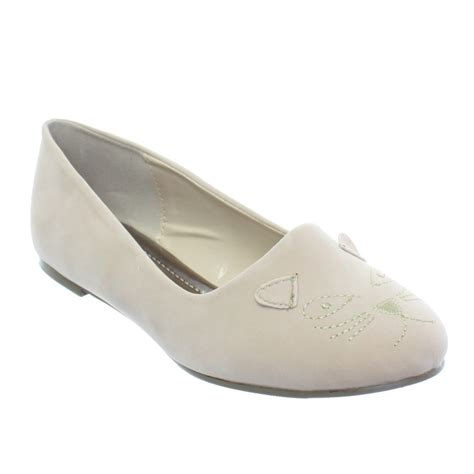 womens cat flat slipper loafer ballet pumps shoes