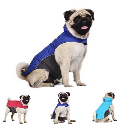 pug puppy clothes alaska jacket coat winter pet clothes polyester fleece lined outdoor sport