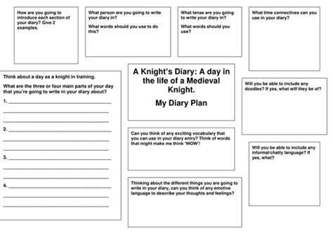 diary writing template ks1 diary writing planning template knights by