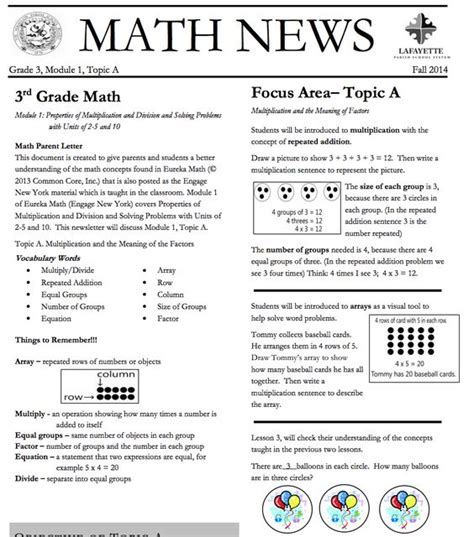 Parent Letter Eureka Math Eureka Math Parent Newsletter And Grade 3 On
