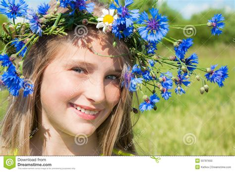 Cheerful Fantasia Flowercrown Flower Crown happy in flower crown stock photo image of closeup 50787650