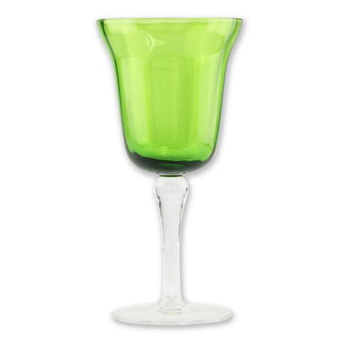 colored glasses sets set of 4 wine glasses with green colored glass shop your