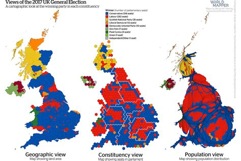 uk election cartogram mapping the 2017 general election geographical