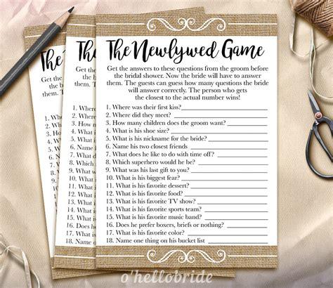 printable bridal shower newlywed game the newlywed game bridal shower game guess what the groom