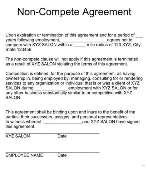 Non Competition Agreement Necessary Maxwidth 600 Compete Contract Marevinho Standard Non Compete Agreement Template