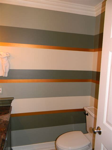 striped bathrooms horizontal striped bathroom with metallic accent stripe