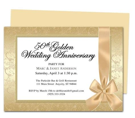 wedding anniversary invitation templates 9 best 25th 50th wedding anniversary invitations