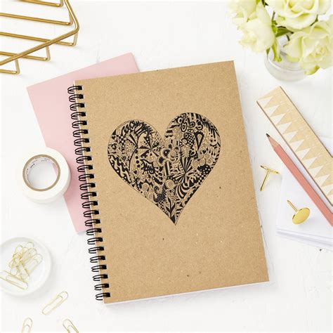 personalised heart doodle notebook by tillyanna