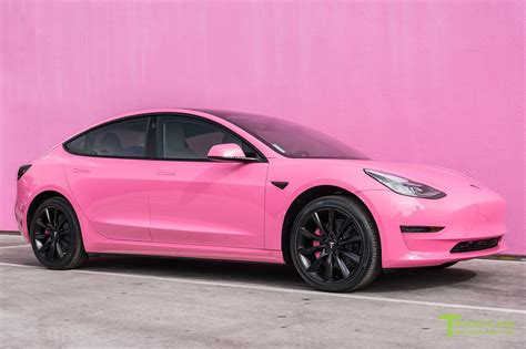 matte black and pink world s first pink gloss tesla model 3 video