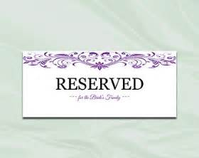Reserved Cards For Tables Templates by Purple Reserved Sign Etsy