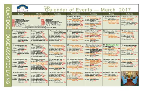 Retirement Calendar Calendar Bridges Retirement Community Brandon