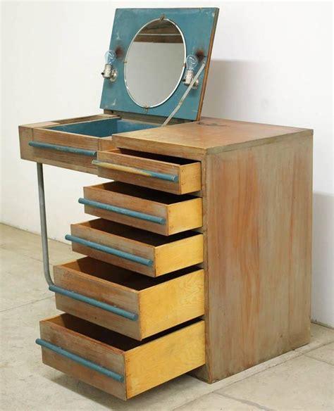1940s modern custom built redwood vanity desk for sale at
