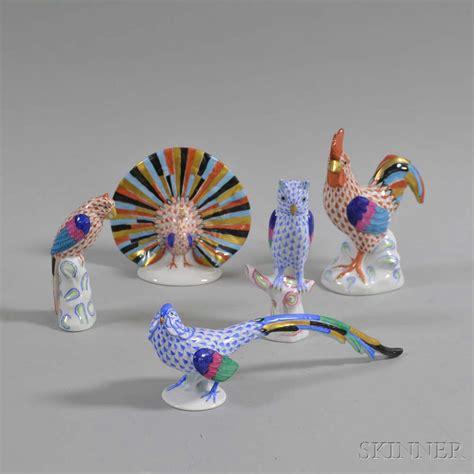 porcelain bird figurine herend bird miniature porcelain bird five herend porcelain bird figures sale number 2974t