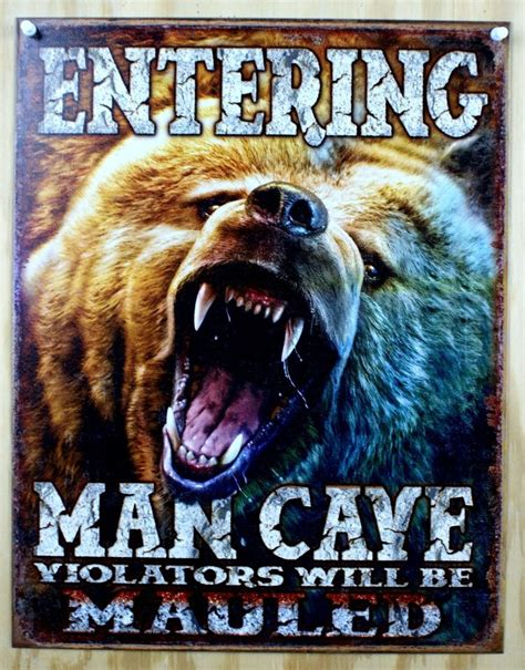 Home Decorating Items entering man cave tin metal sign garage game room fathers