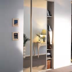 lot de 2 portes de placard coulissante miroir argent l 120