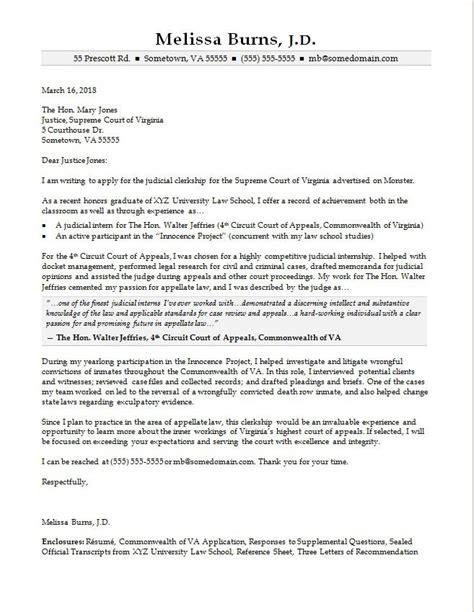cover letter judicial clerkship judicial clerkship cover letter sle