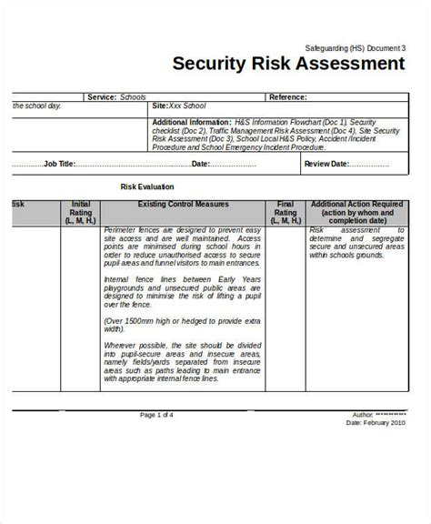 security guard risk assessment template 40 risk assessment exles sles