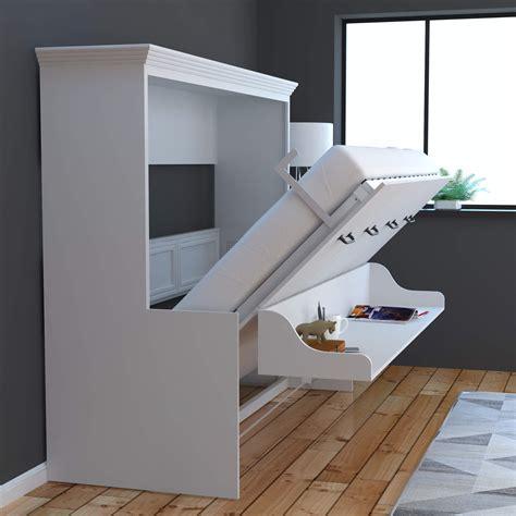 adonis horizontal murphy bed  desk combo white