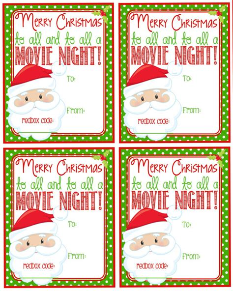 printable movie gift cards printable christmas redbox gift tag merry christmas and to
