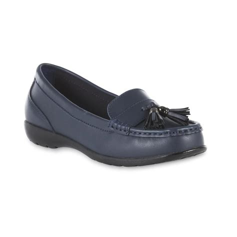 womens loafers wide width thom mcan s caeley navy leather moccasin loafer