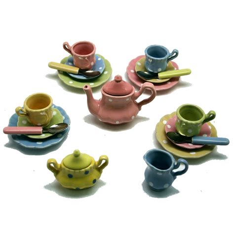 kid s polka dot play tea set porcelain
