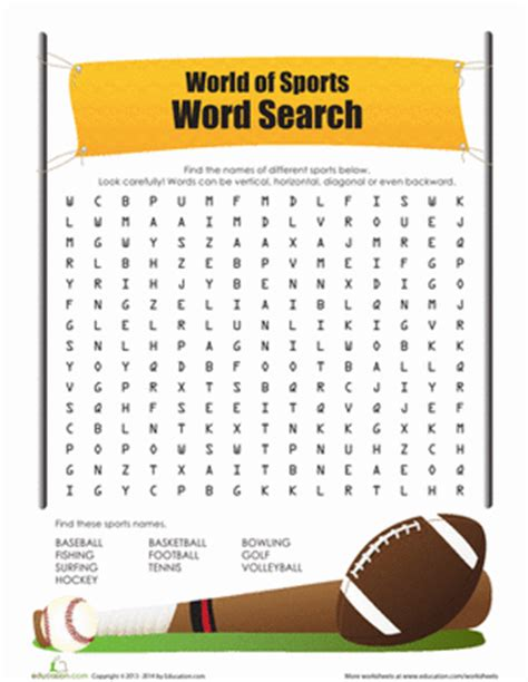 printable word search about sports sports word search worksheet education com