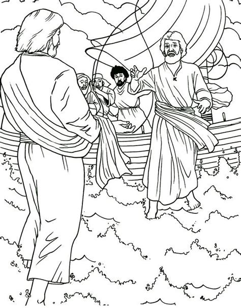 coloring pages for jesus walking on water petrus op de golven kleurplaten nieuwe testament bible