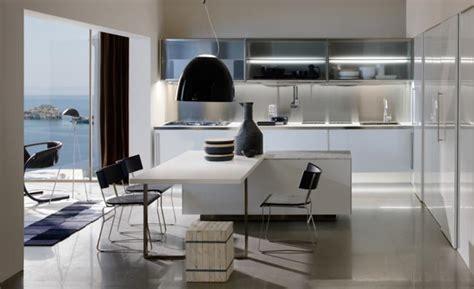 modern kitchen inspiration cuisine escamotable design en bois clair blanc et metal