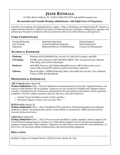It Desktop Support Resume Desktop Support Technician Resume Inspiredshares