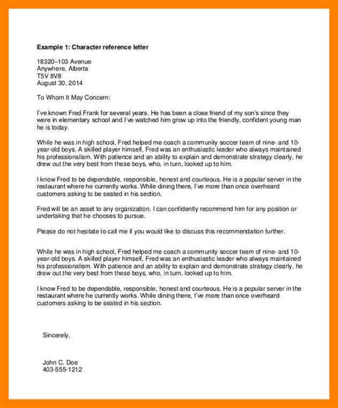 Recommendation Letter For Exle Exle Of Reference Letter Professional Reference Letters