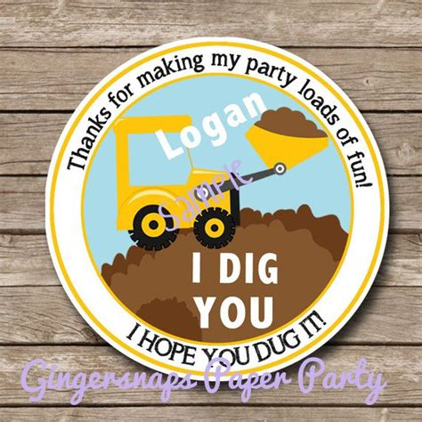 i dig you party favors printable i dig you tractor favor tag print at home