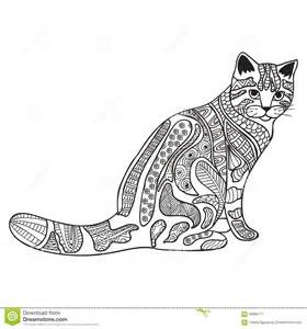 Cat anti stress coloring book for adults black and white hand drawn