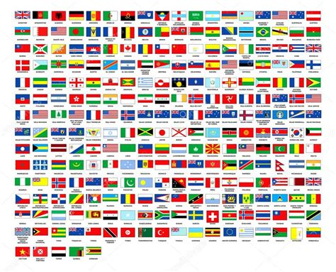 flags of the world display 257 world flags complete collection stock photo