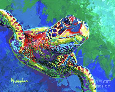 colors of the turtles sea turtle painting by arango