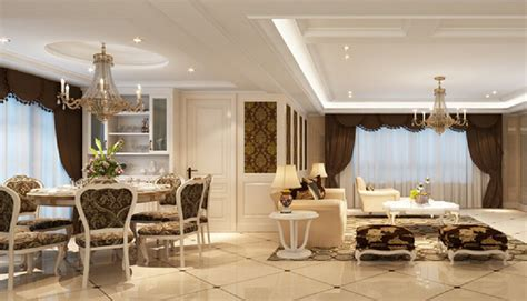 Livingroom Restaurant 3d Rendering Neoclassical Dining Living Room 3d House