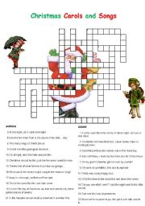 best christmas puzzles and answers carols and songs crossword esl worksheet by englishchris