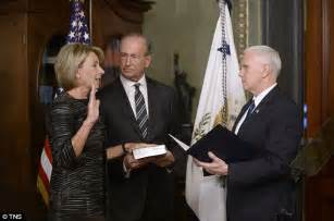 betsy devos wedding mike pence arrives for unprecedented tie break vote