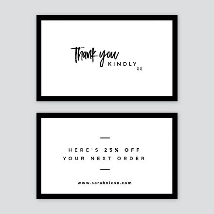 corporate thank you card template simple black and white thank you card