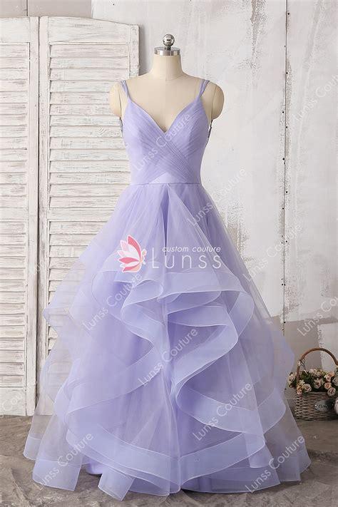 Spaghetti Tulle Dress fashion lavender layered v neck a line spaghetti