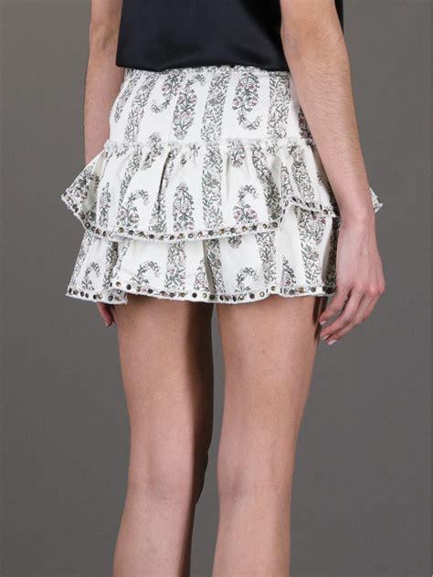18465 white flower denim skirt lyst marant floral ruffle skirt in white
