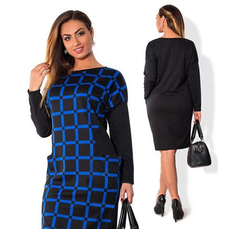 Office Dress Big Size sleeve plus size casual office dresses 6xl big size bodycon dress blue black