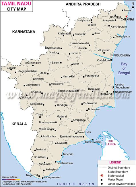 maps with towns cities in tamil nadu tamil nadu cities map